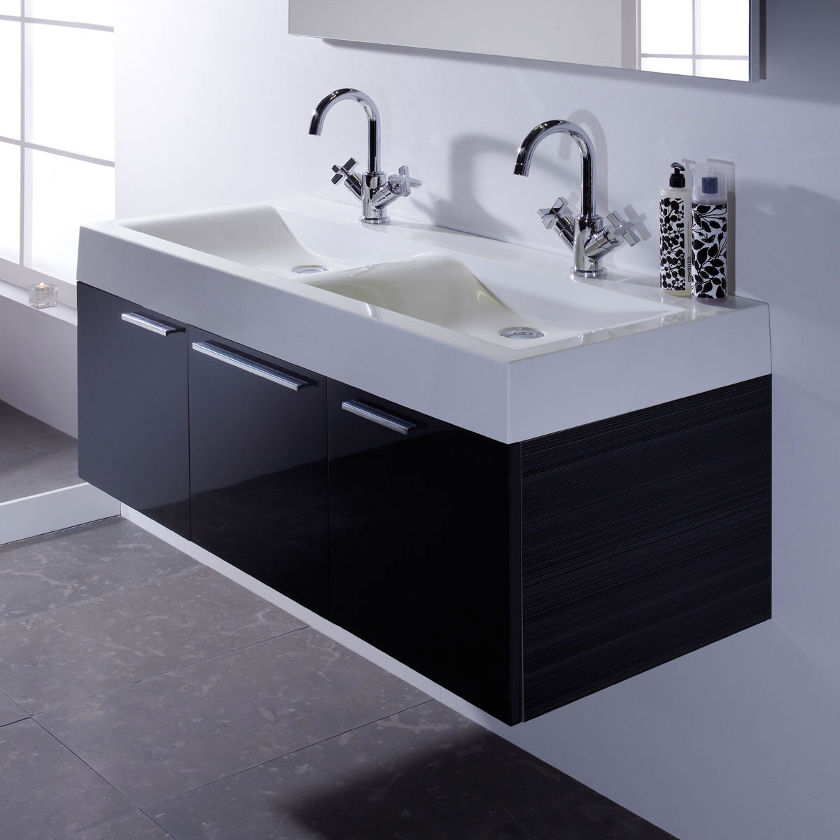 Bathroom Double Sink Vanity Units. Roper Rhodes Envy 1200mm Double Wall Mounted Unit Anthracite And Basin