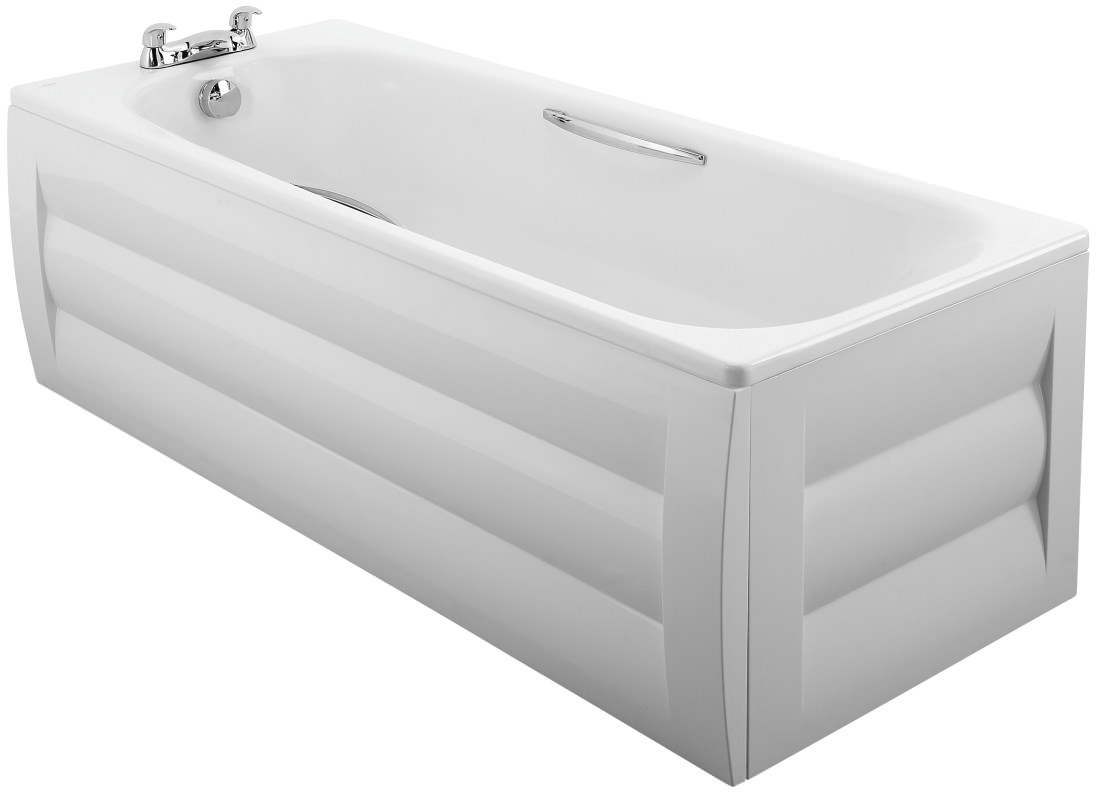 Twyford Shallow 1700 x 700mm Slip Resistant Steel Bath With Grips ...