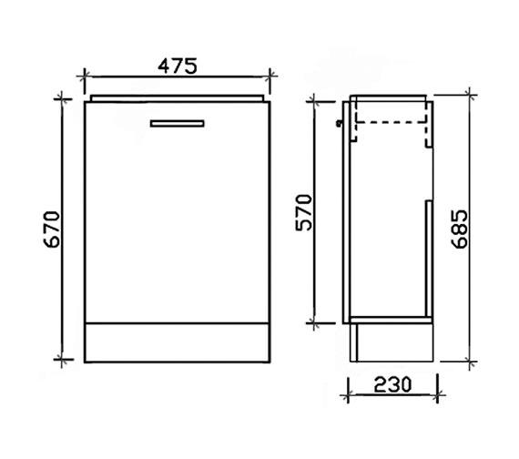 Aqva New England Small Bathroom Vanity Unit 475mm Vty058