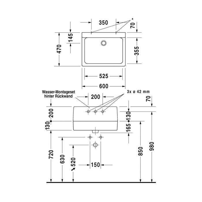 Duravit Vero White 600 X 470mm 3 Tap Hole Washbasin