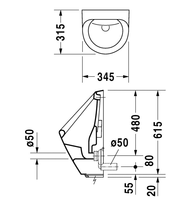 Duravit Utronic Battery Operated Electronic Urinal 345 X 315mm Technical Drawing QS V45527 0830370000