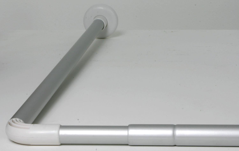 Croydex L Shape Telescopic Curtain Rail Rod Silver Ad103000