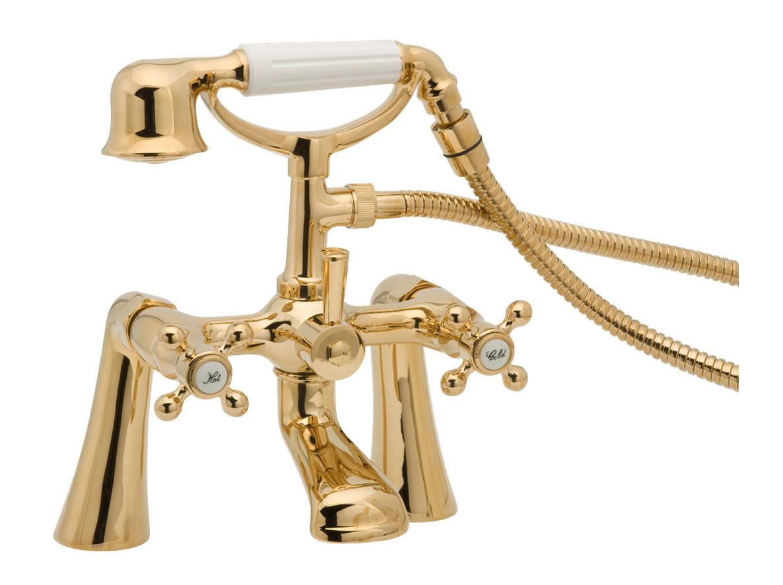 deva tudor pillar mounted bath shower mixer tap gold