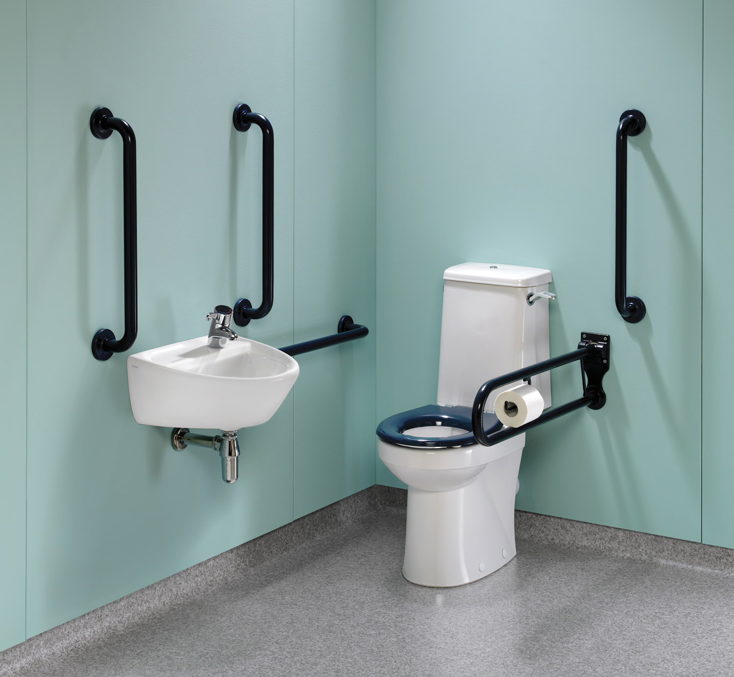 Twyford Doc.M Rimless Super CC WC Pack With Blue Grab Rails And Seat ...