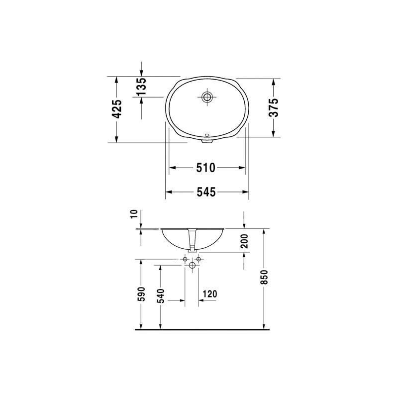 Duravit Santosa Undercounter Vanity Basin 510 X 425mm White 046651