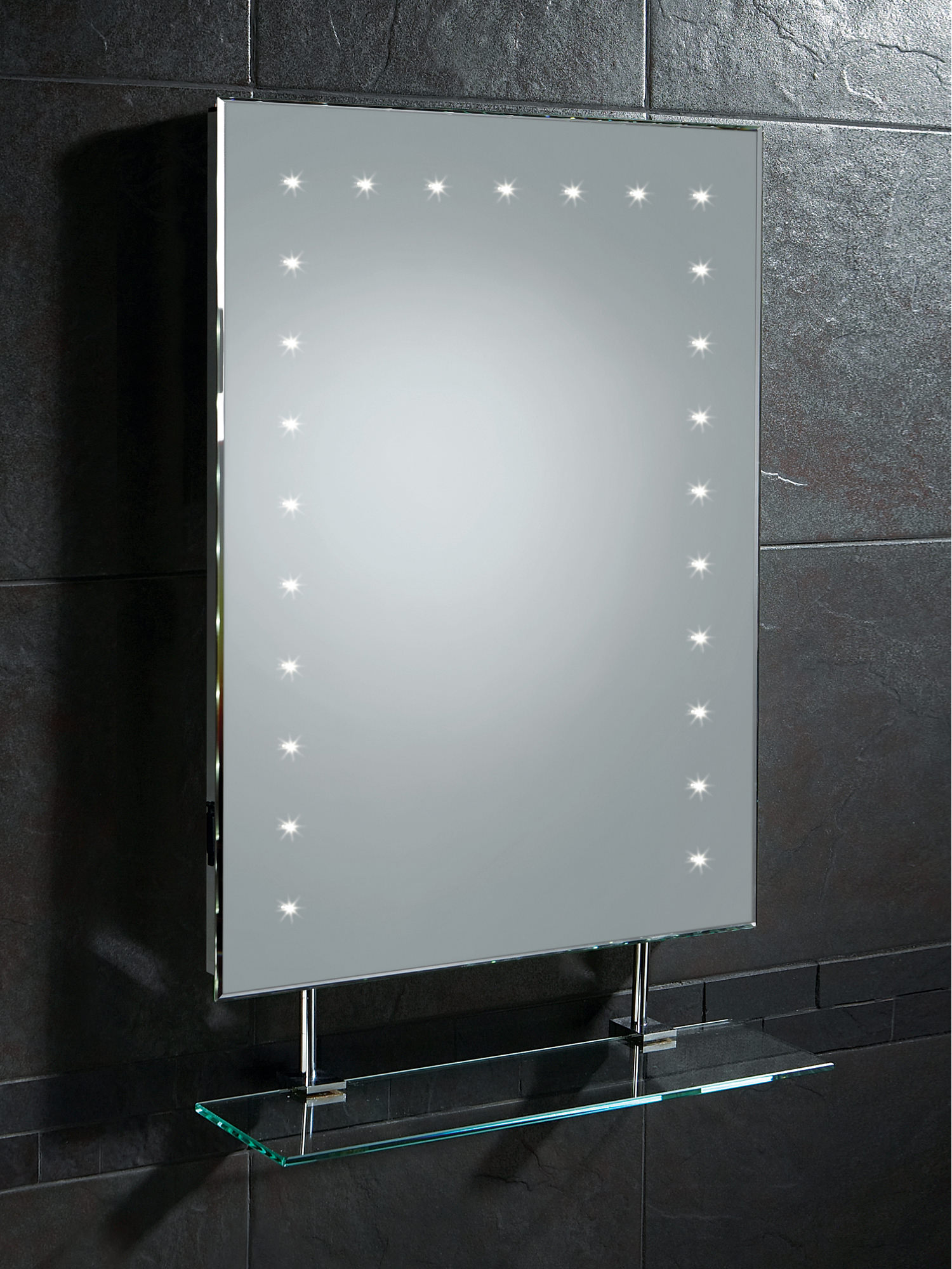 HIB Keo LED Bathroom Mirror With Glass Shelf And Shaver Socket