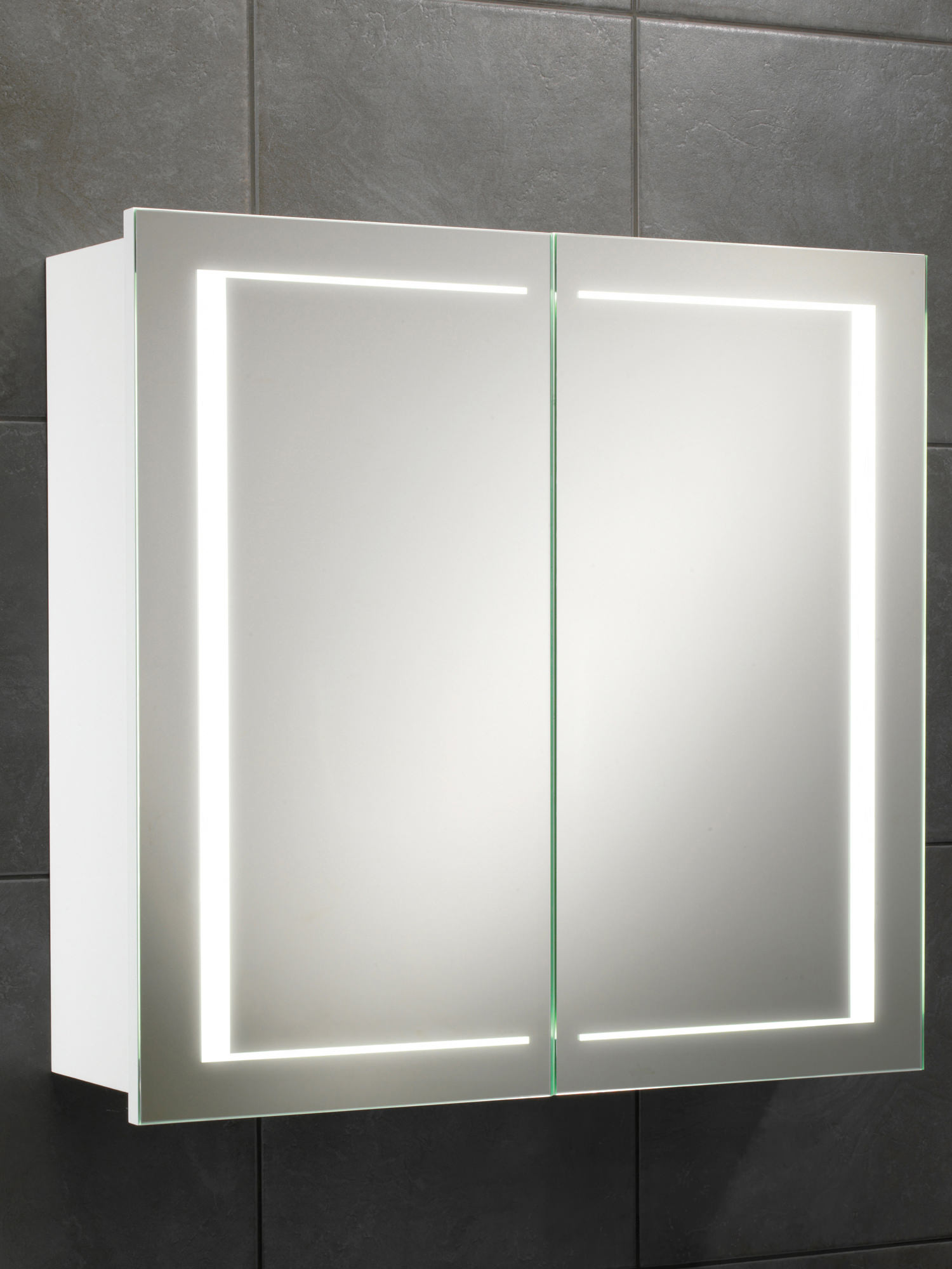 Hib colorado double door led back lit illuminated cabinet for Bathroom cabinet 700