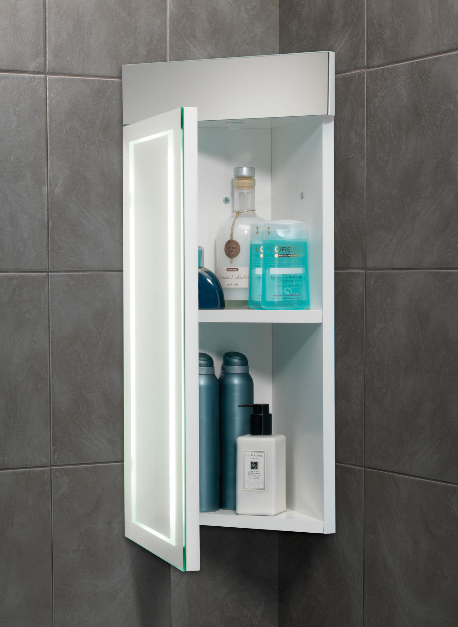 corner bathroom mirror cabinet hib minnesota led back lit illuminated corner cabinet 300 13886