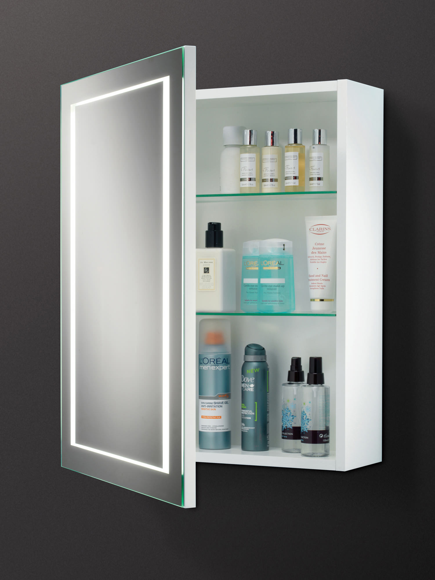 HIB Austin Single Door LED Back-Lit Illuminated Cabinet ...