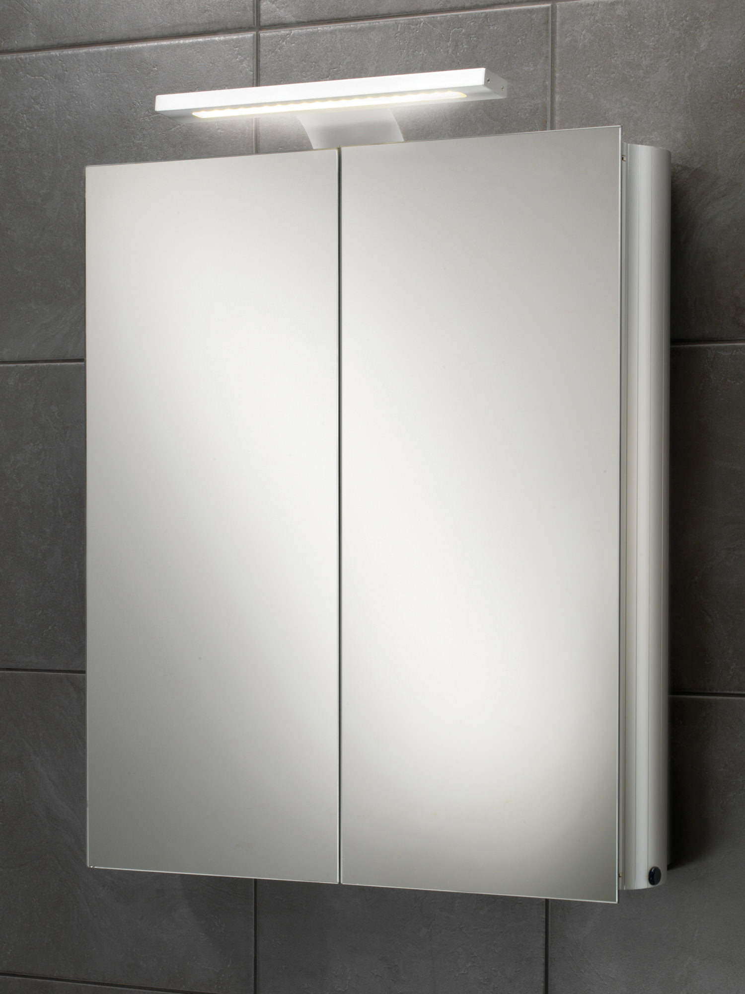 Hib atomic led illuminated double door aluminium mirrored for Bathroom cabinets led