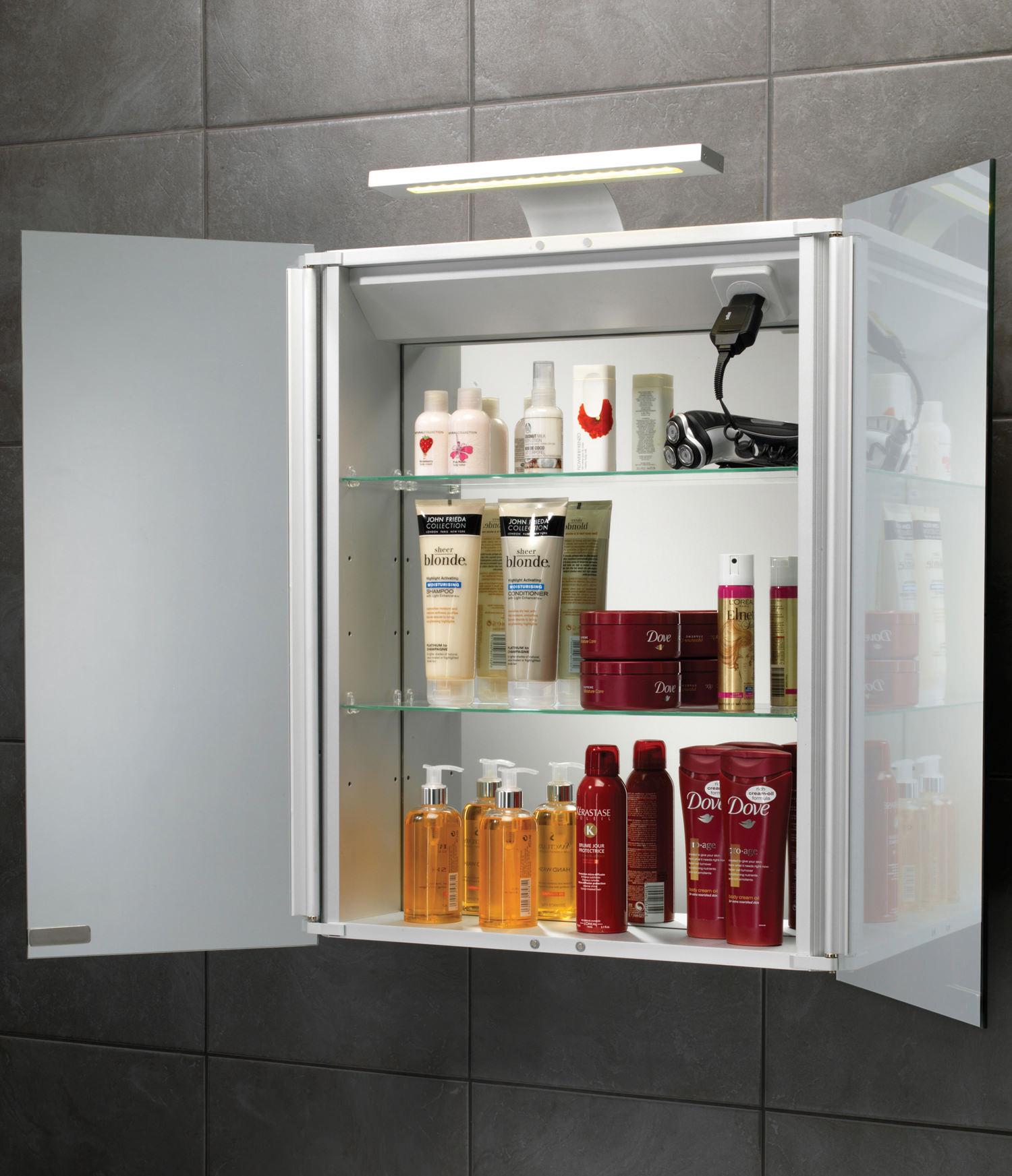 Aluminium Bathroom Cabinets Hib Atomic Led Illuminated Double Door Aluminium Mirrored Cabinet