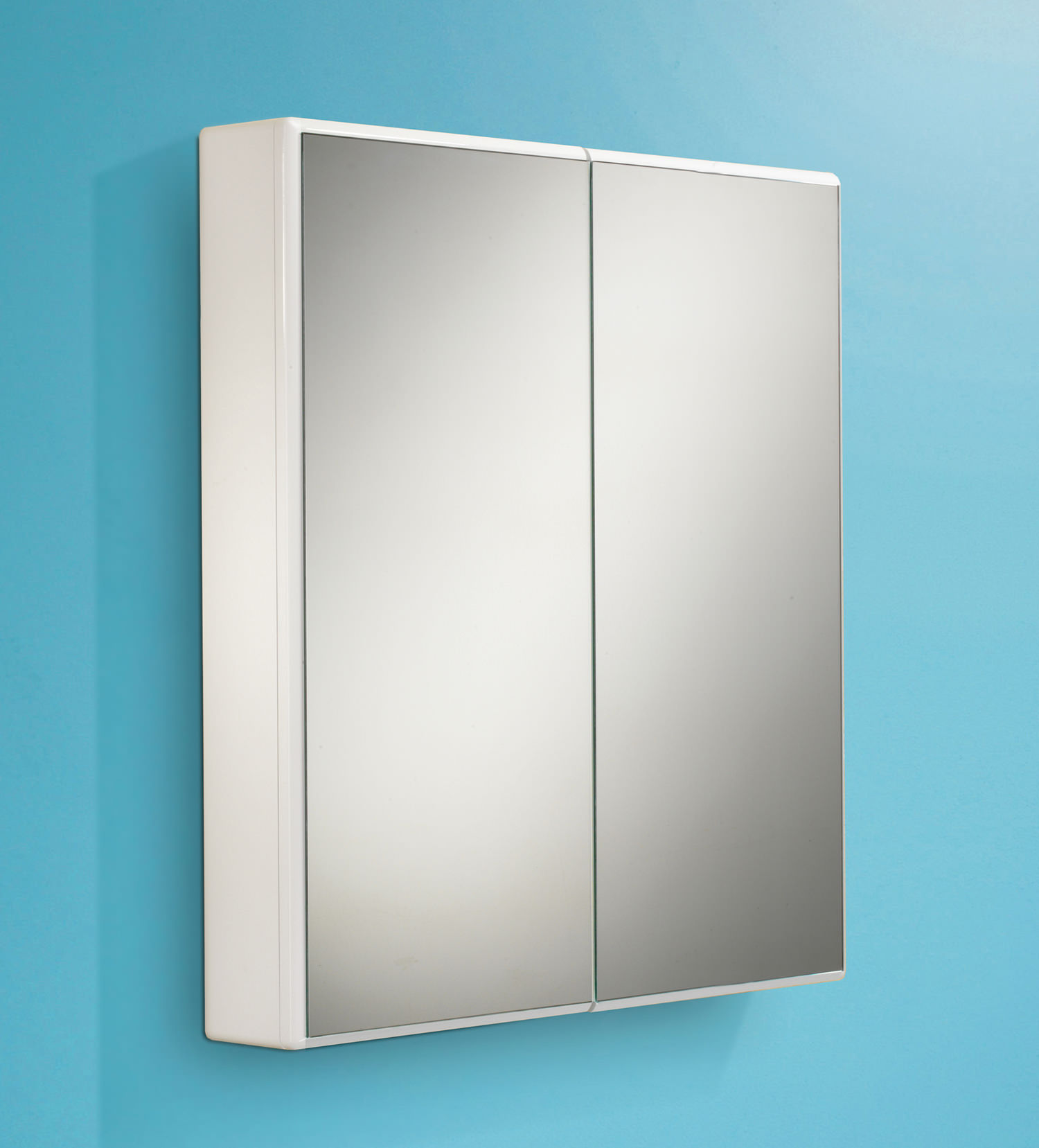 Hib jersey slimline double door mirrored cabinet 650 x for Slim mirrored bathroom cabinet