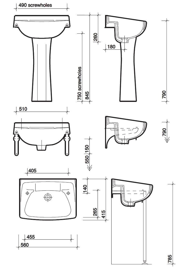 Twyford Classic 560 X 415mm 2 Tap Hole Washbasin Cc4212wh