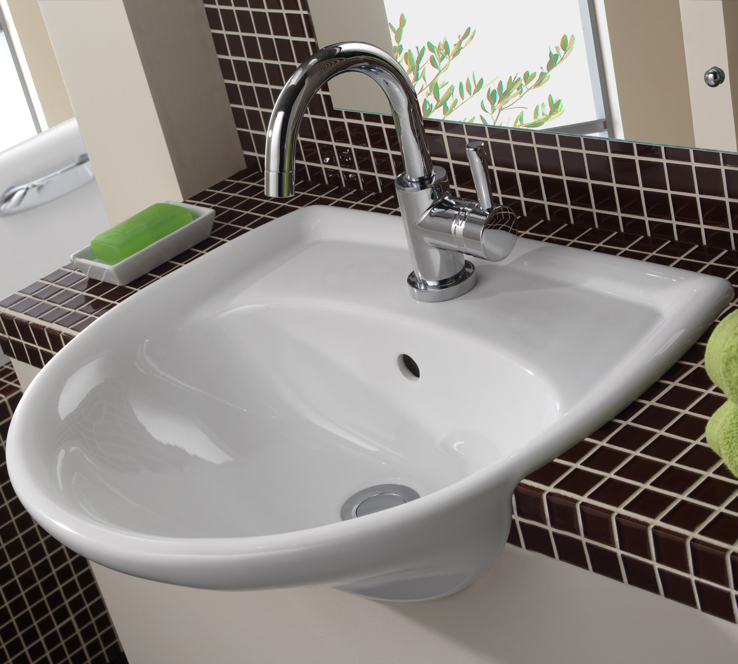 Twyford Galerie 133mm Wide 13 Tap Hole Semi Recessed Basin - GN133WH