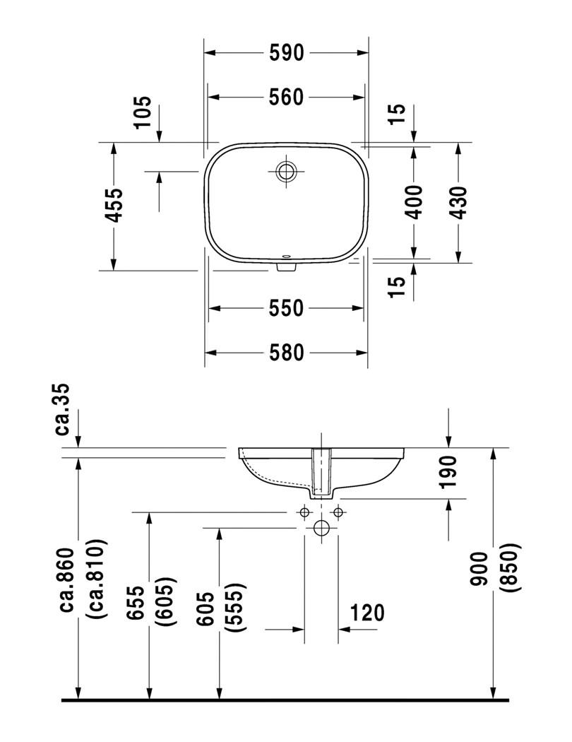 Duravit D Code 560 X 400mm Vanity Basin 0338560000