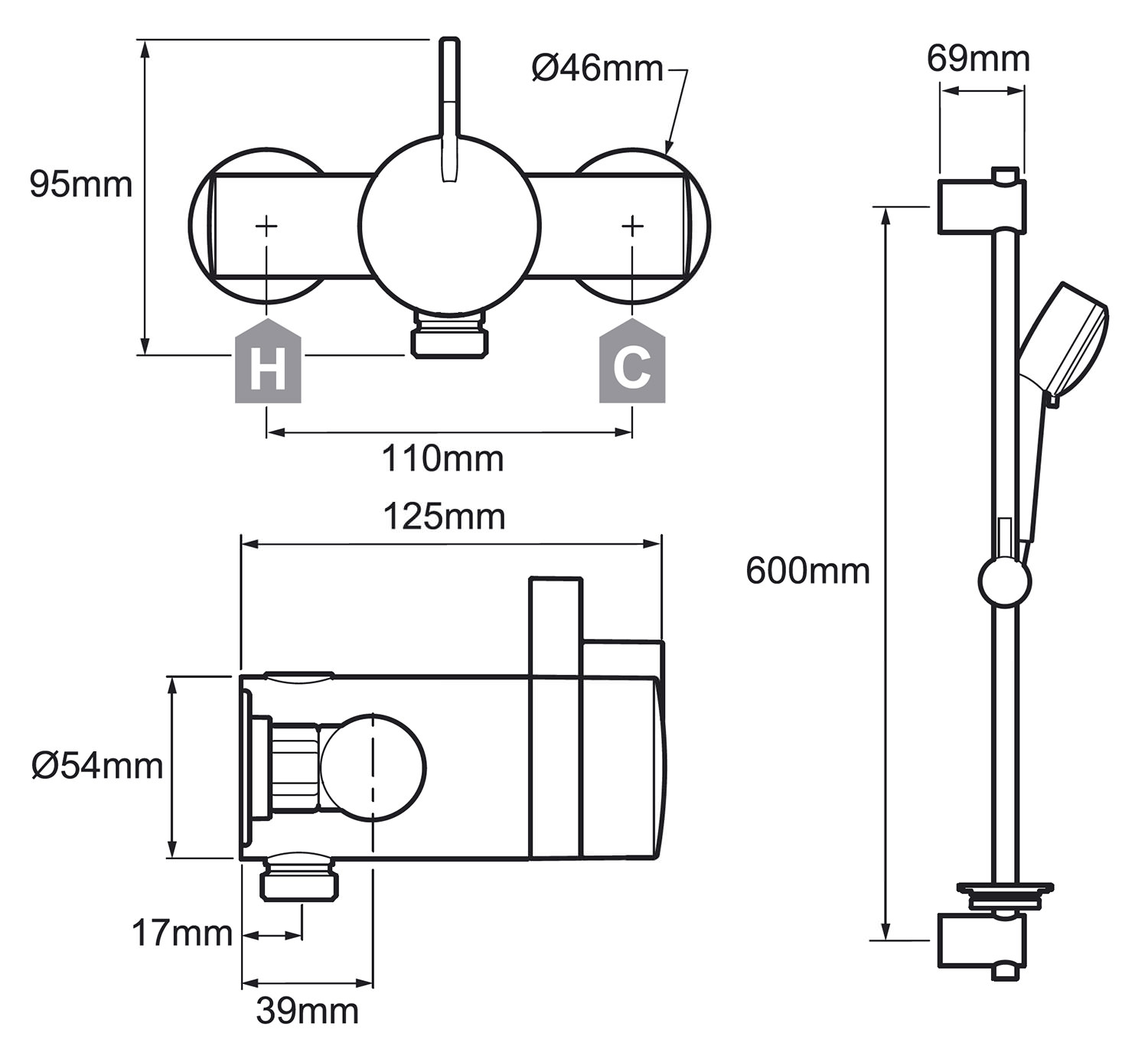 Mira Miniduo Exposed Valve Thermostatic Mixer Shower