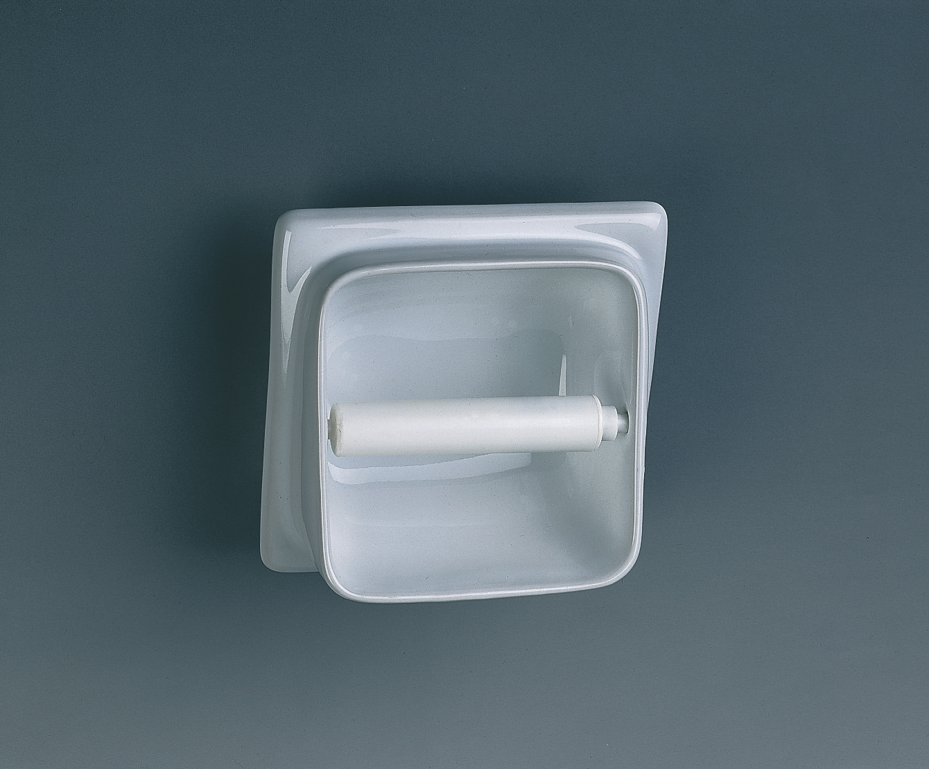 Twyford built in semi recessed toilet roll holder vc9806wh - Recessed toilet roll holder ceramic ...