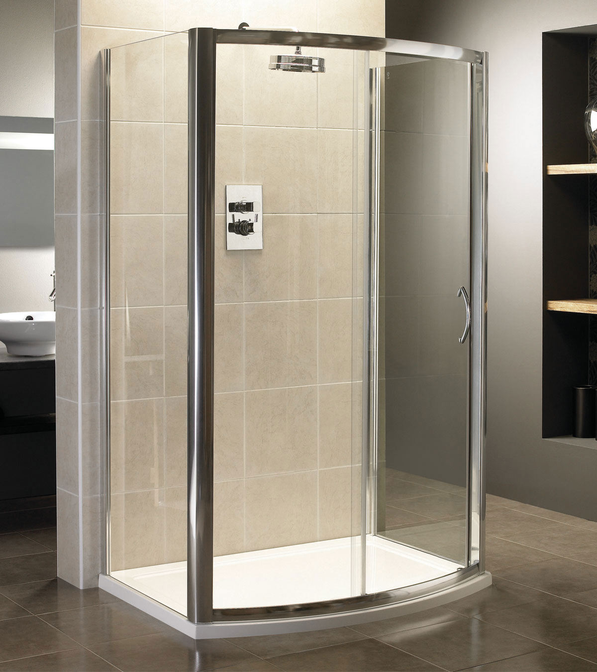 April identiti2 bow fronted sliding shower door 1200mm for 1200mm shower door sliding