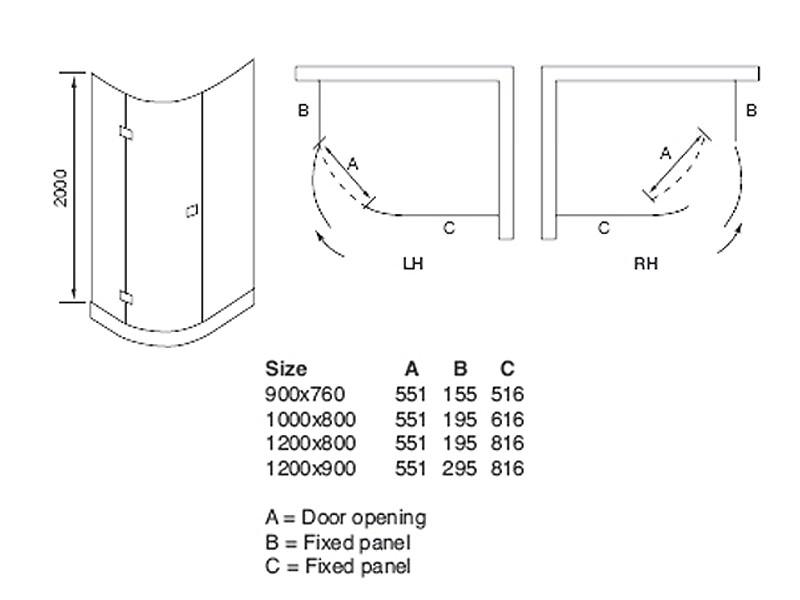 April Prestige2 Frame Less Single Door Offset Quadrant