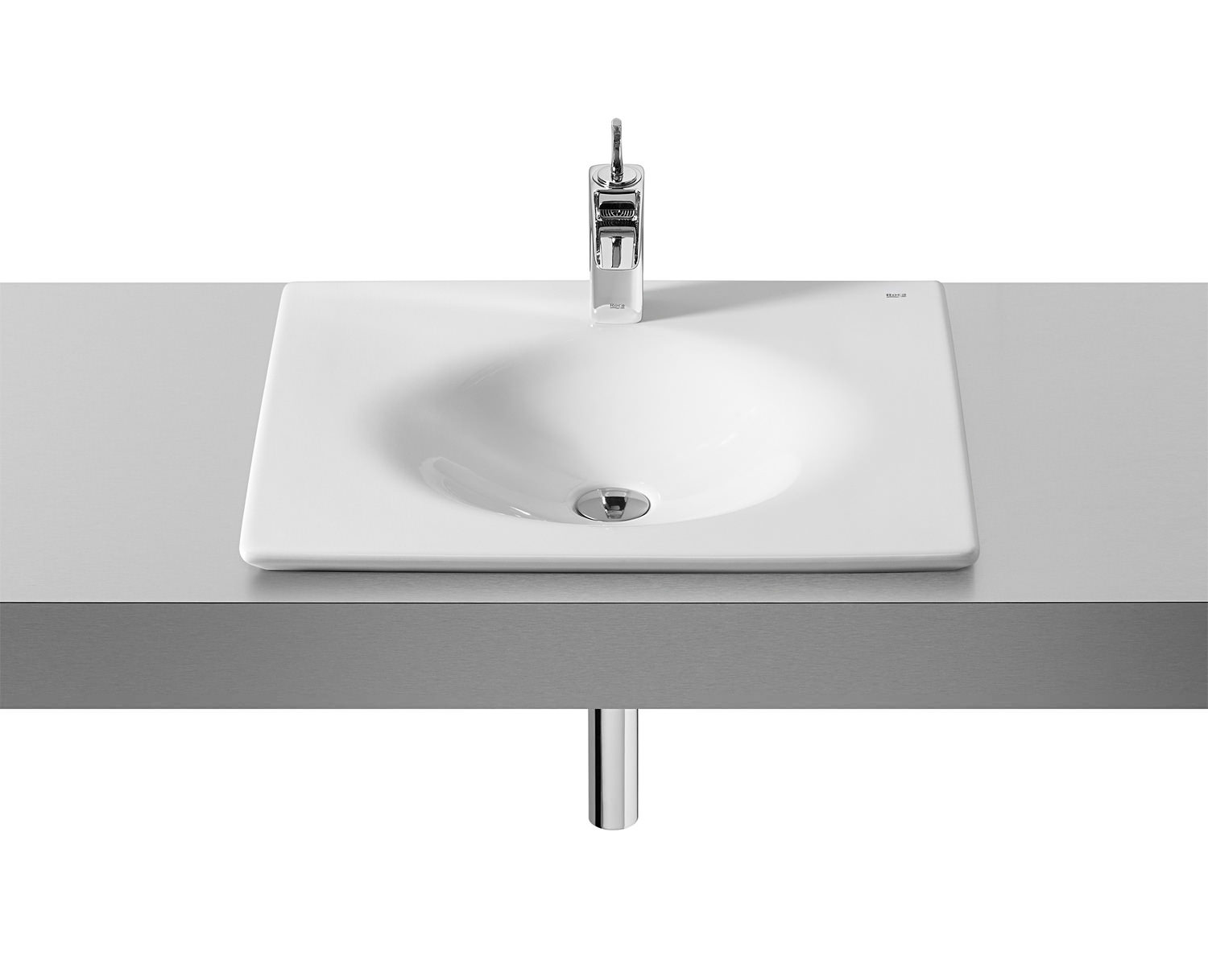 Wide Illuminated Bathroom Mirror With Backlit Effect For Double Or Wide Basins: Roca Kalahari In-Countertop Basin 590mm Wide