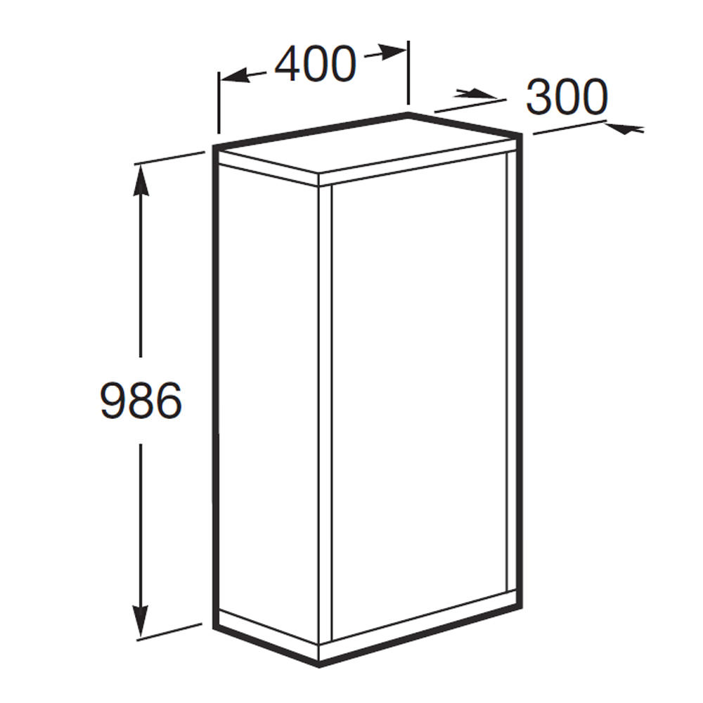 Roca veranda n column unit with straight sides 400mm wide for Bathroom cabinets 400mm wide