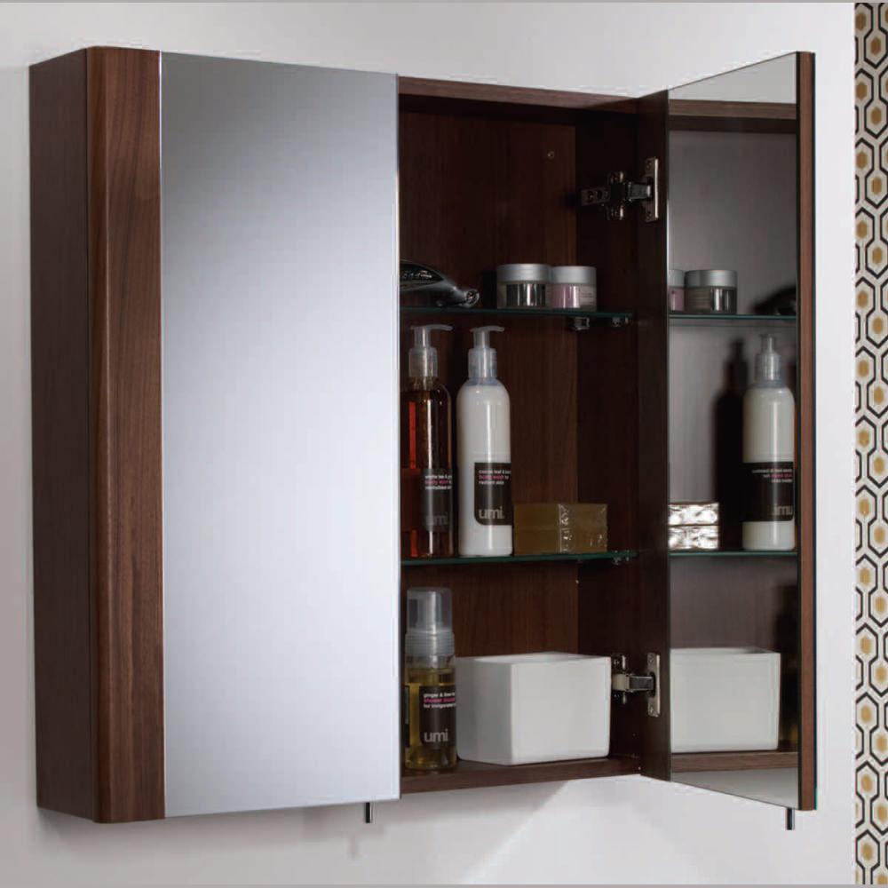 Vienna single door mirrored cabinet - white