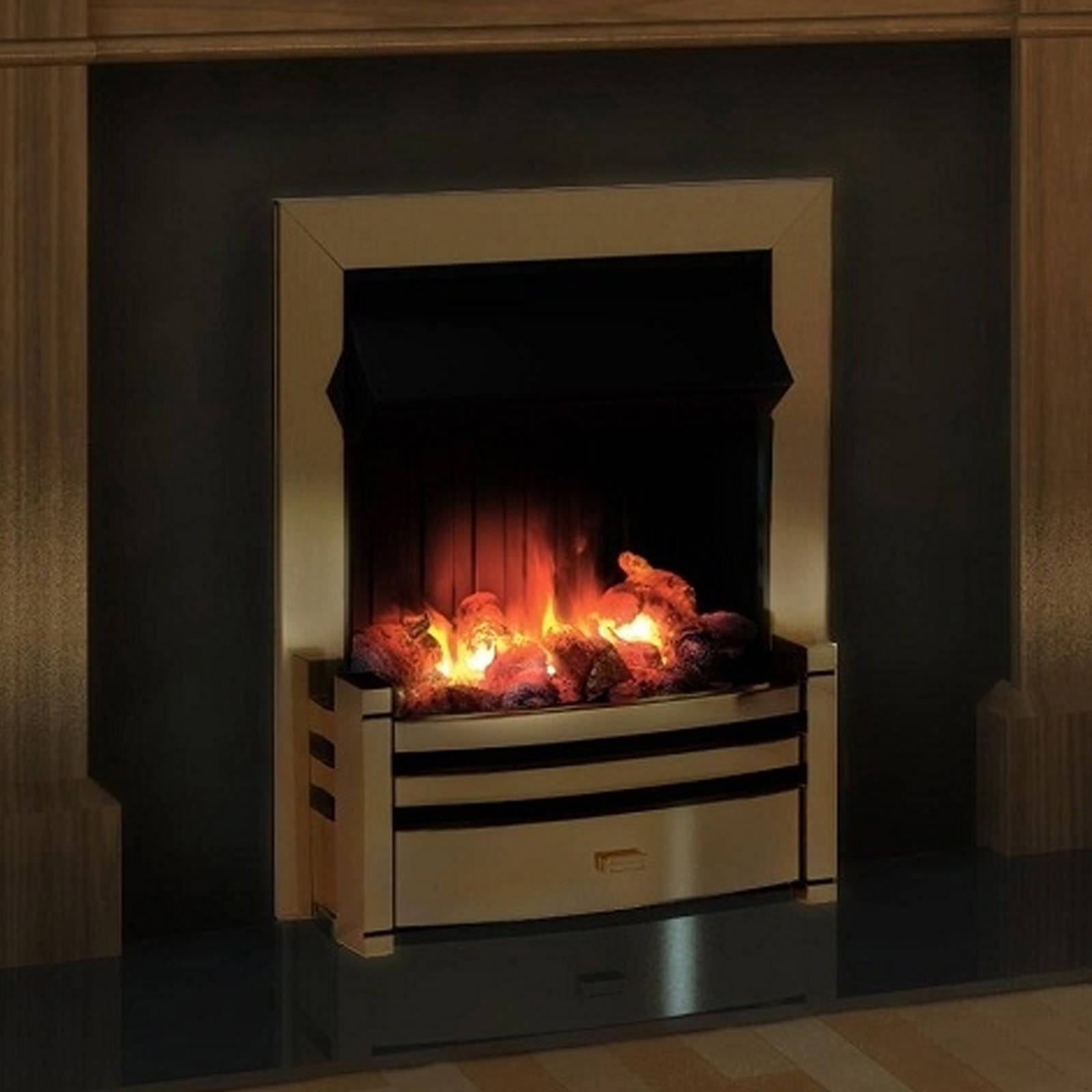 dimplex charlotte opti myst electric fire antique brass crt20ab