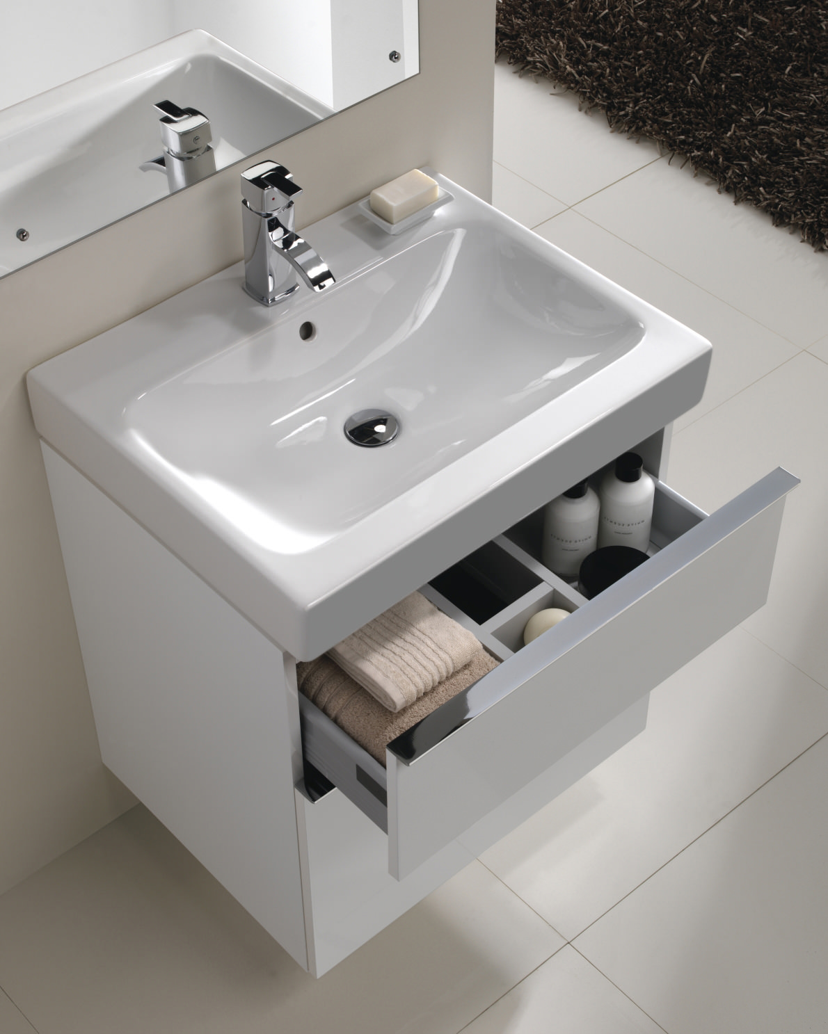 Twyford 3d 600mm Basin And Alpine White 2 Drawer Vanity Unit 3d4711wh