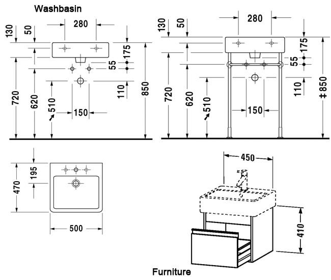 Duravit Ketho 450mm 1 Drawer Unit With Vero 500mm Basin