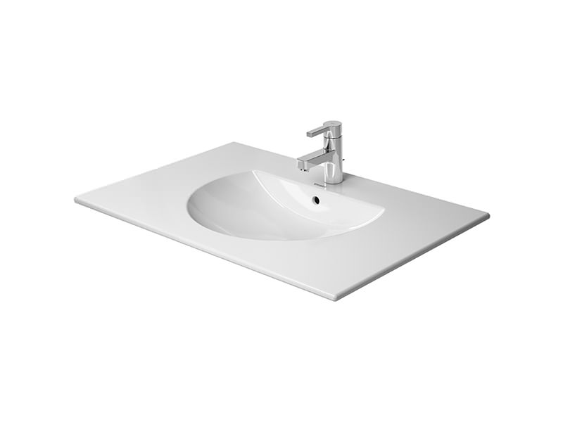 Wide Illuminated Bathroom Mirror With Backlit Effect For Double Or Wide Basins: Duravit Darling New 530mm Wide Furniture Washbasin