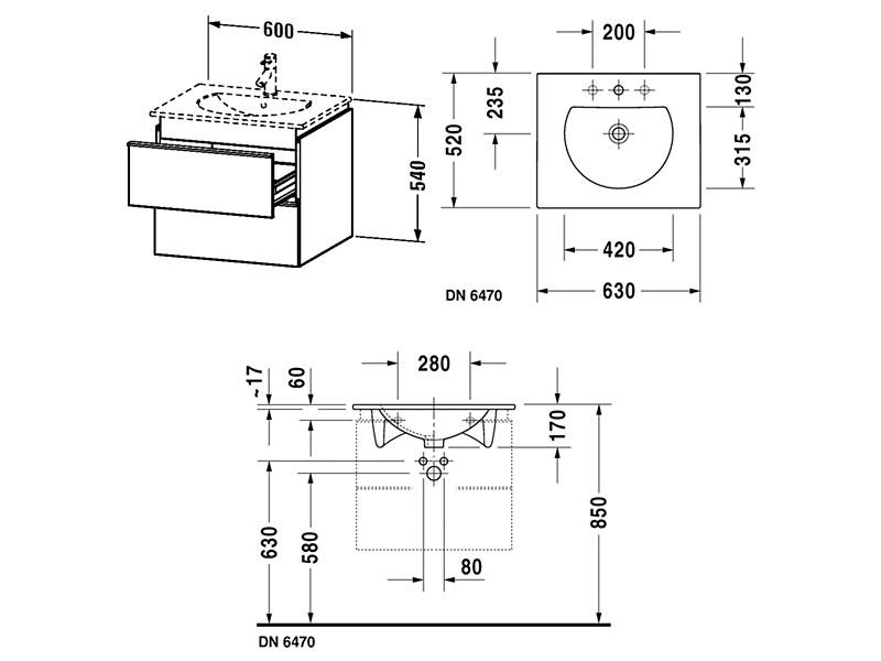 Duravit Darling New 600mm 2 Drawers Vanity Unit
