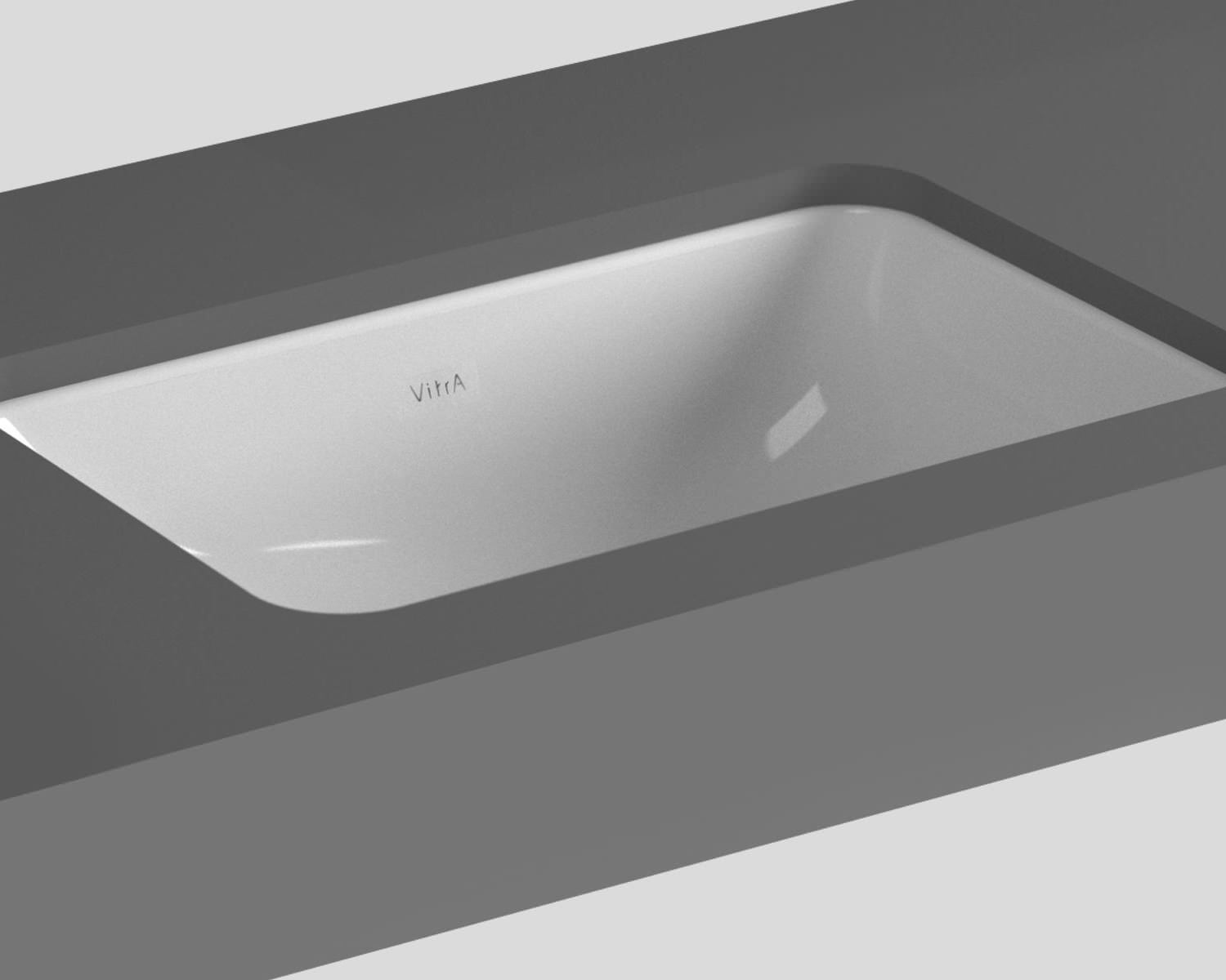 Wide Illuminated Bathroom Mirror With Backlit Effect For Double Or Wide Basins: VitrA S20 Commercial Under Counter Square Basin