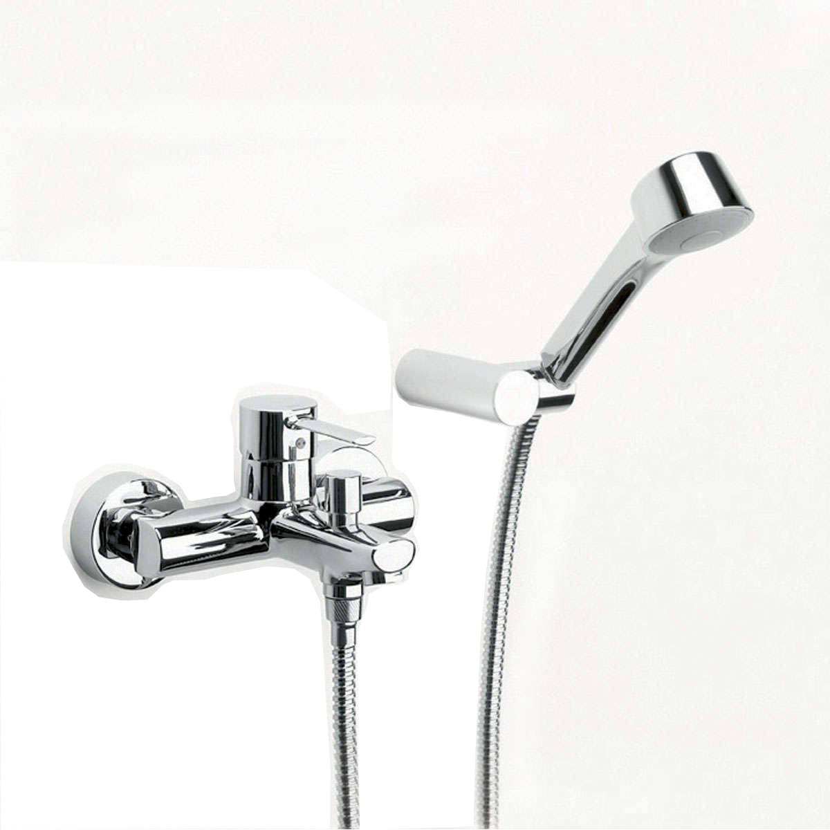 roca targa wall mounted bath shower mixer tap with kit. Black Bedroom Furniture Sets. Home Design Ideas