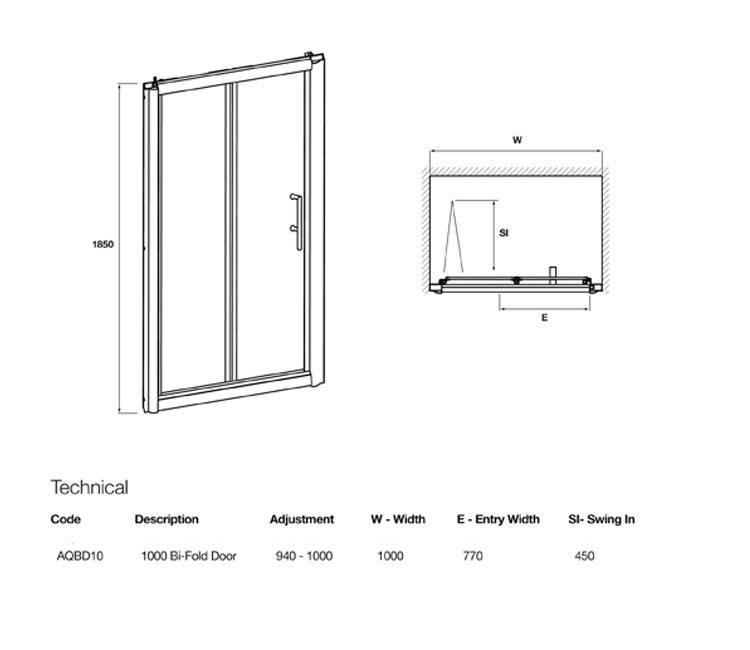 Lauren pacific bi fold shower door 1000 x 1850mm for 1000 bi fold shower door