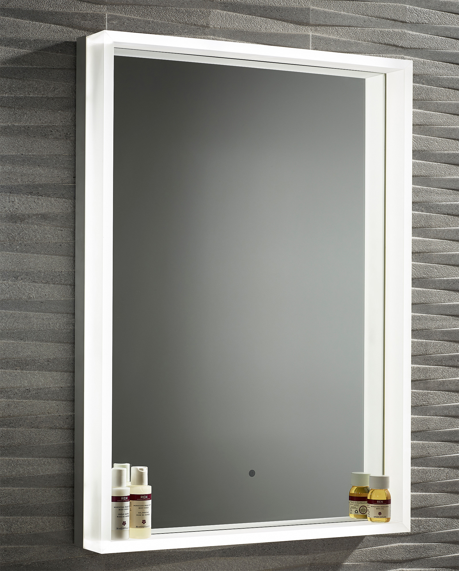 roper rhodes aura illuminated framed mirror 500 x 700mm chrome