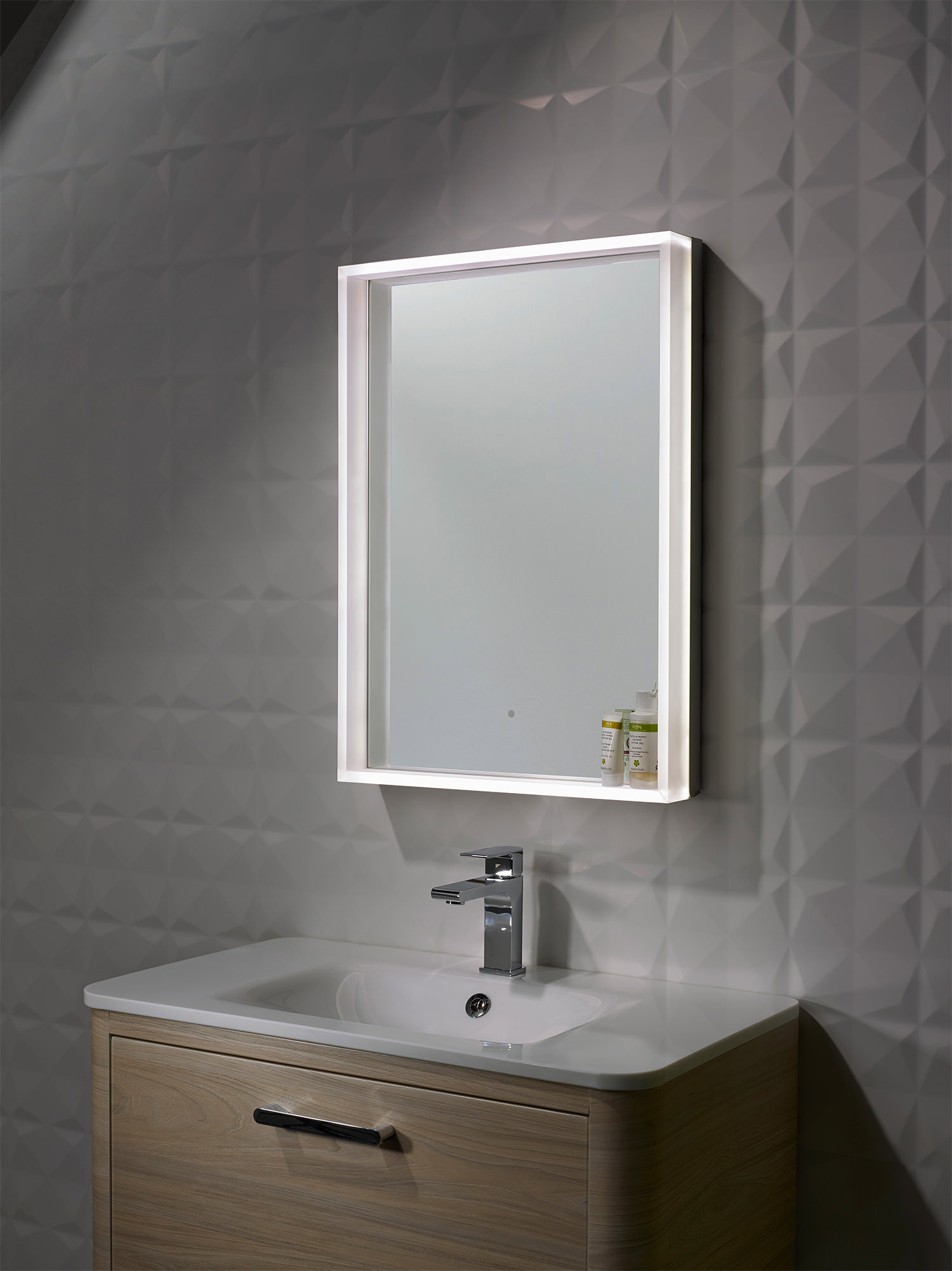 roper rhodes bathroom mirrors roper aura illuminated framed mirror 500 x 700mm 20226