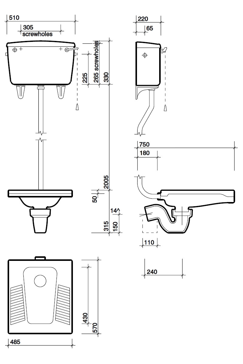 Twyford nile squatting wc pan wc3390wh for Bathroom p trap height