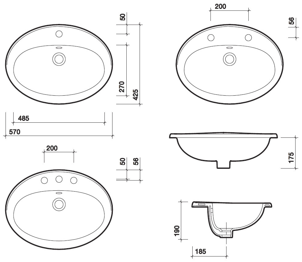 Twyford Entice 1 Tap Hole Countertop Washbasin 570mm Wb1761wh