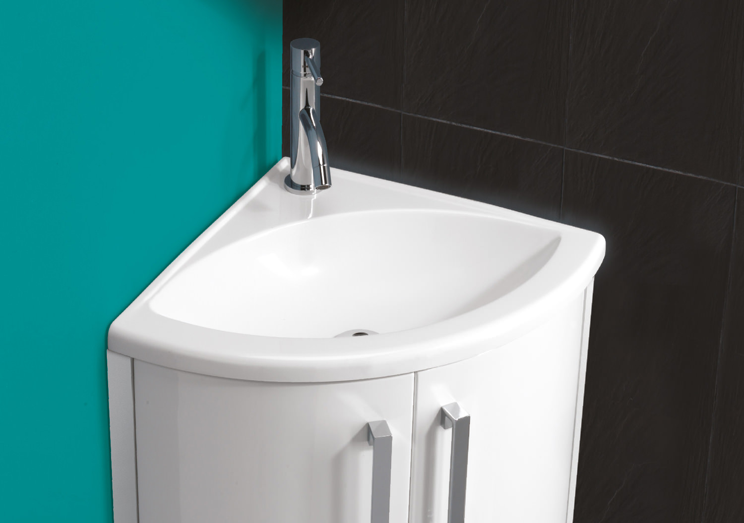 Hib Solo Wave Corner Washbasin 625 X 400mm 8880