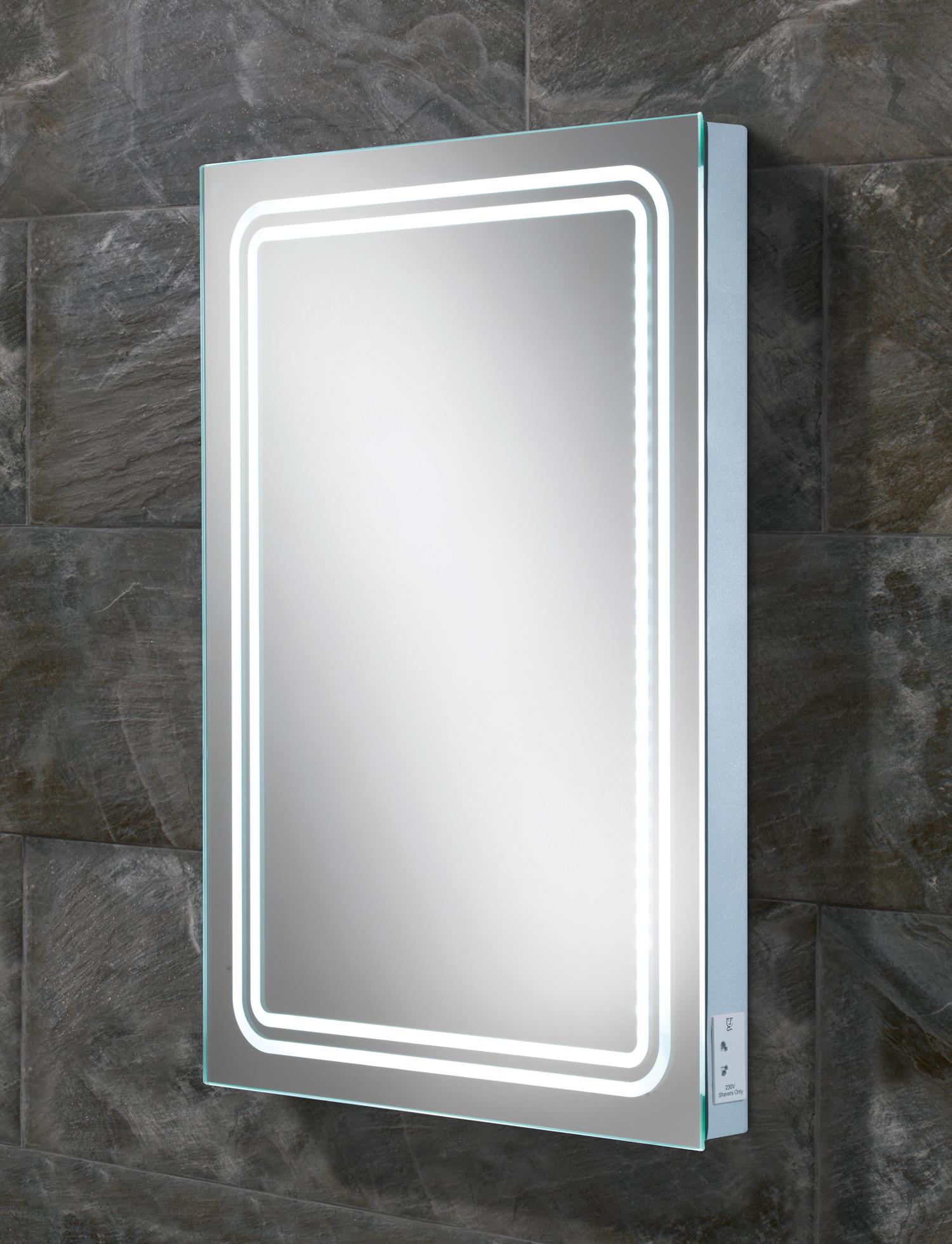 hib rotary led backlit mirror with shaver socket