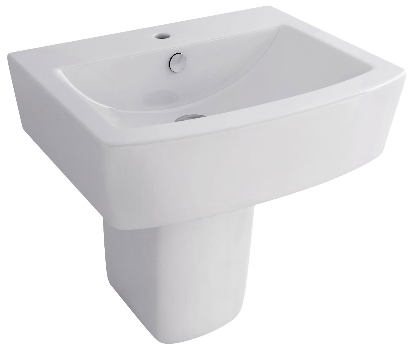 Pura Bloque 550mm 1 Tap Hole Basin And Half Pedestal