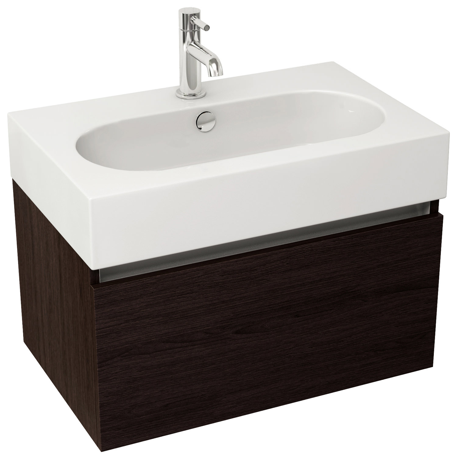 Pura Echo 600mm Wenge Single Drawer Wall Mounted Unit And