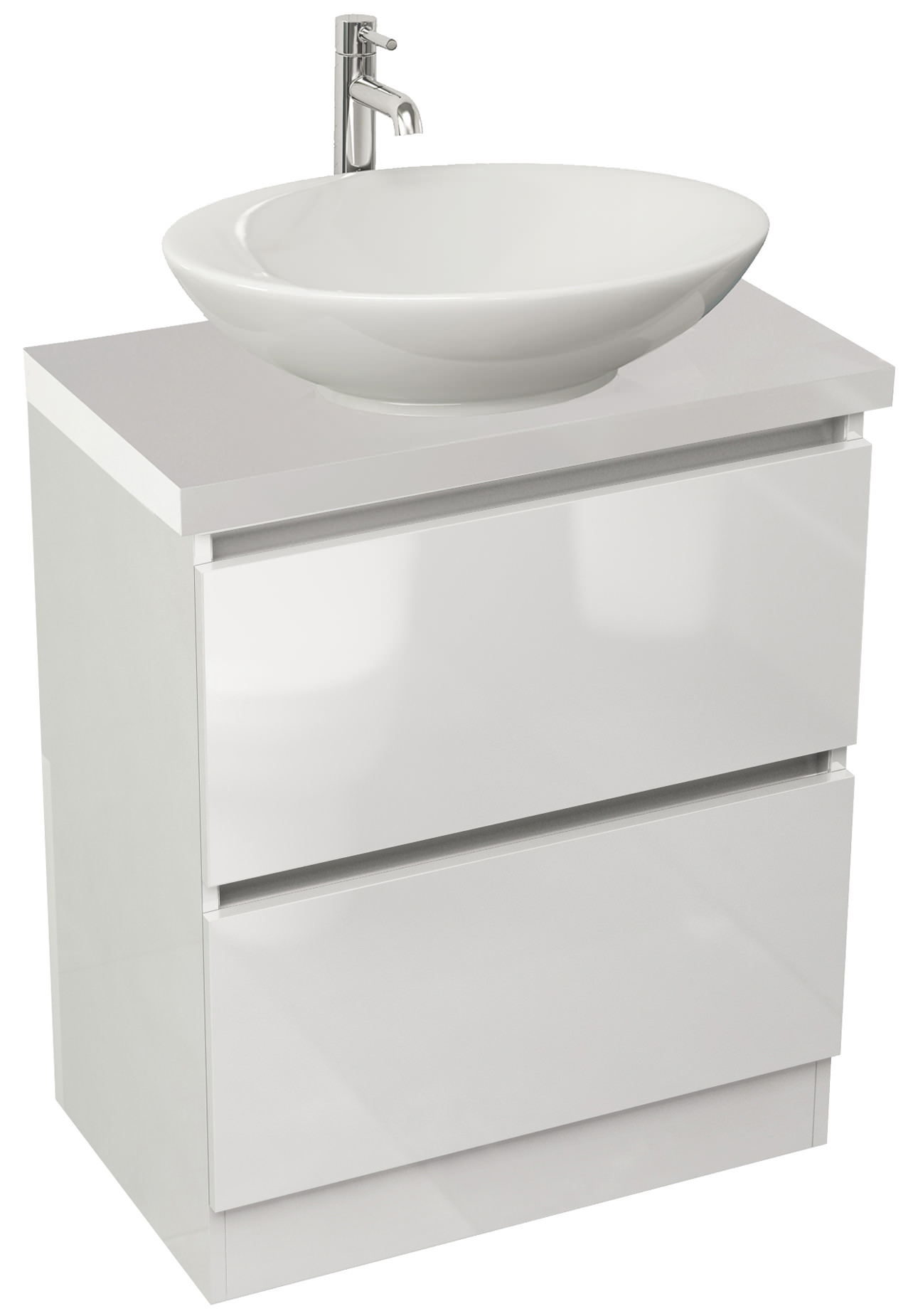 White gloss bathroom unit - Pura Echo 600mm White Gloss Double Drawer Floor Standing Unit And Worktop