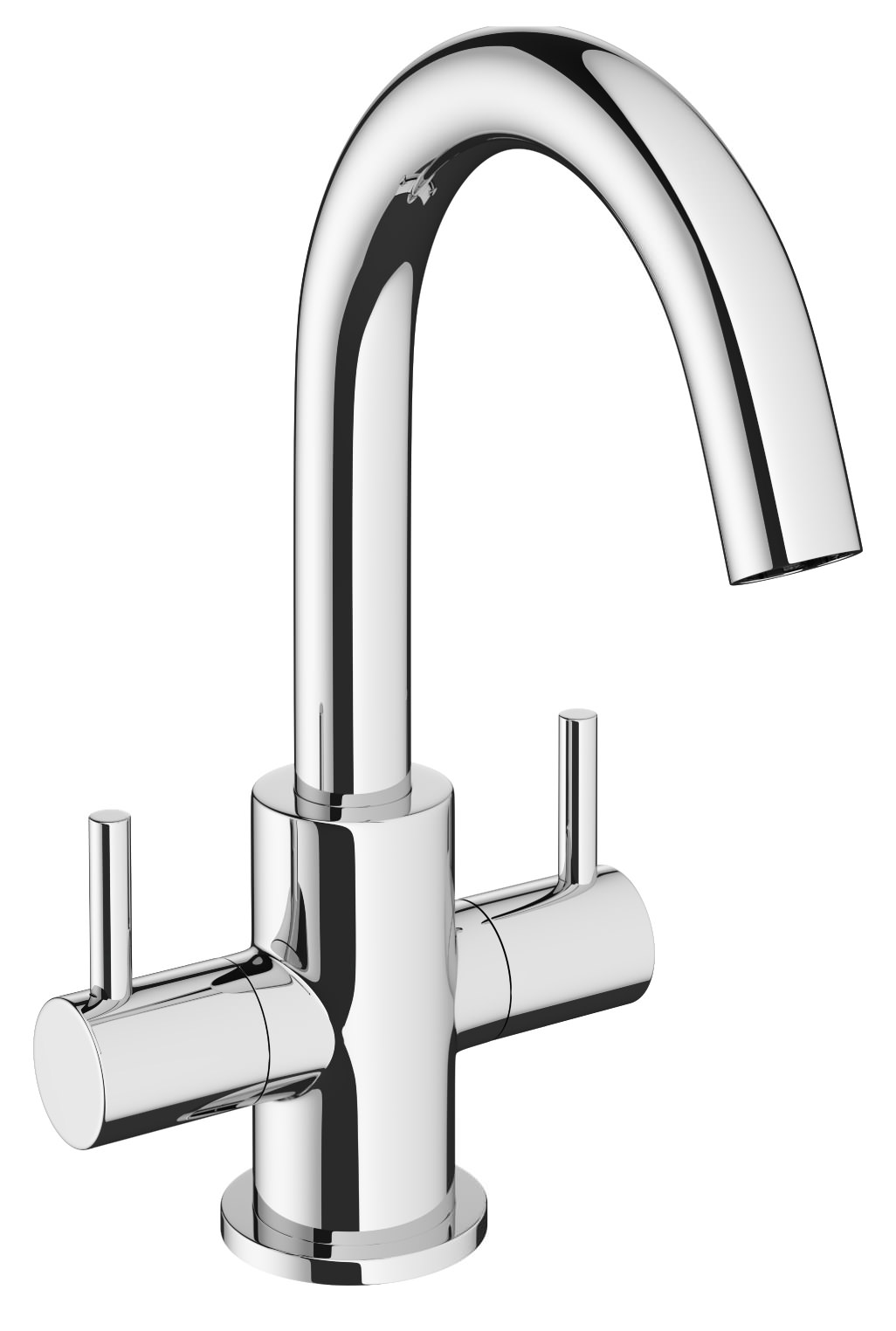 crosswater mike pro chrome twin lever monobloc basin mixer. Black Bedroom Furniture Sets. Home Design Ideas