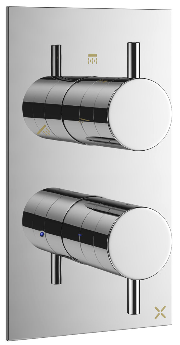 Crosswater Mike Pro Chrome 3 Outlet Thermostatic Bath Shower Valve ...