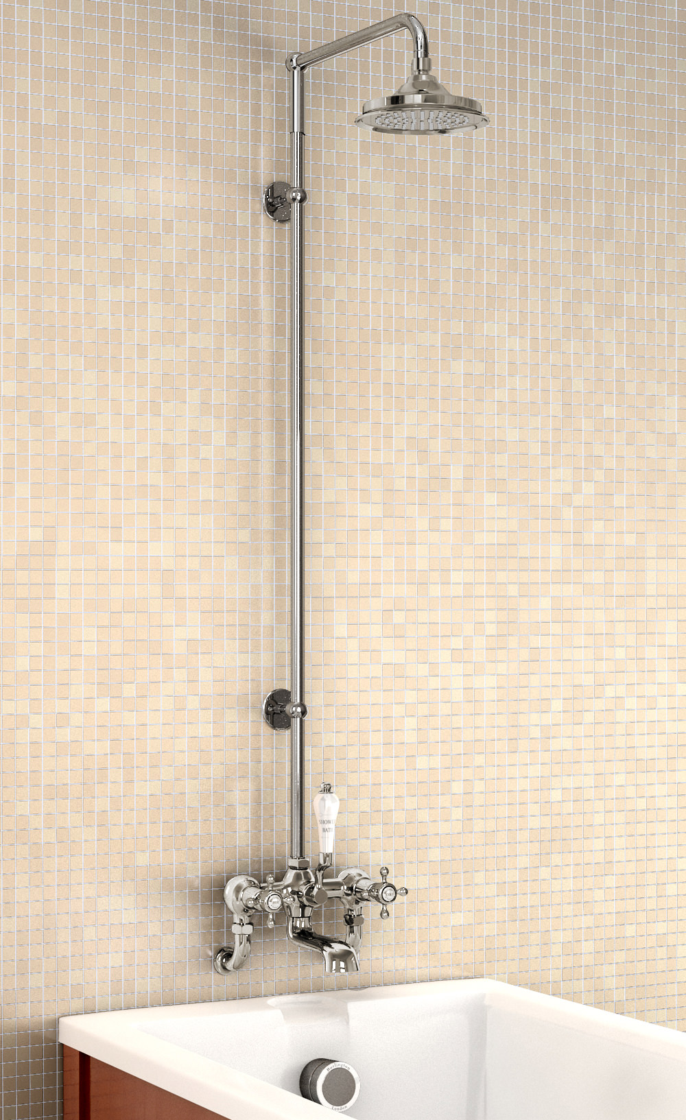 Burlington Bath Shower Mixer With Straight Arm And 6in Rose