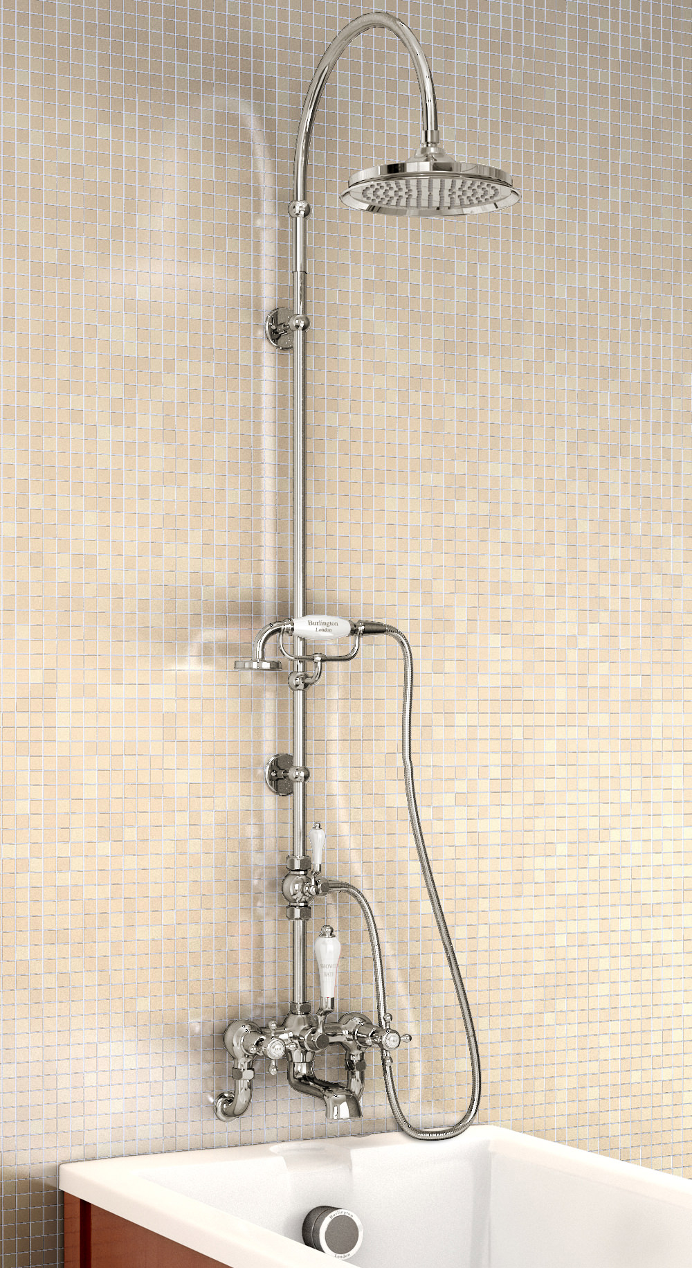 Burlington Bath Shower Mixer With Curved Arm And 9in Rose