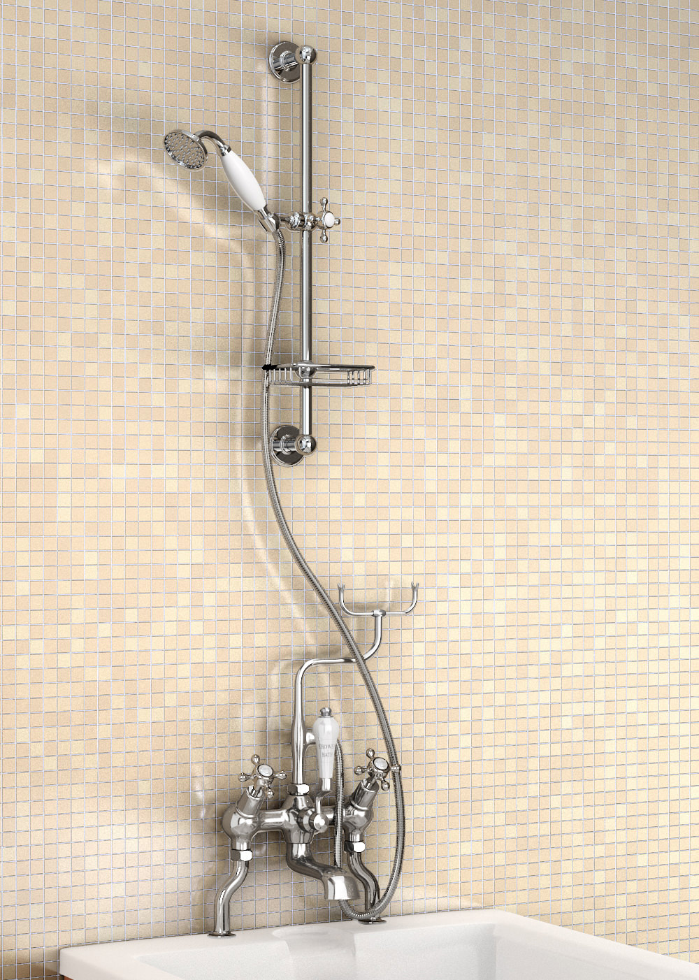 Angled Deck Mounted Bath Shower Mixer With Slide Rail And