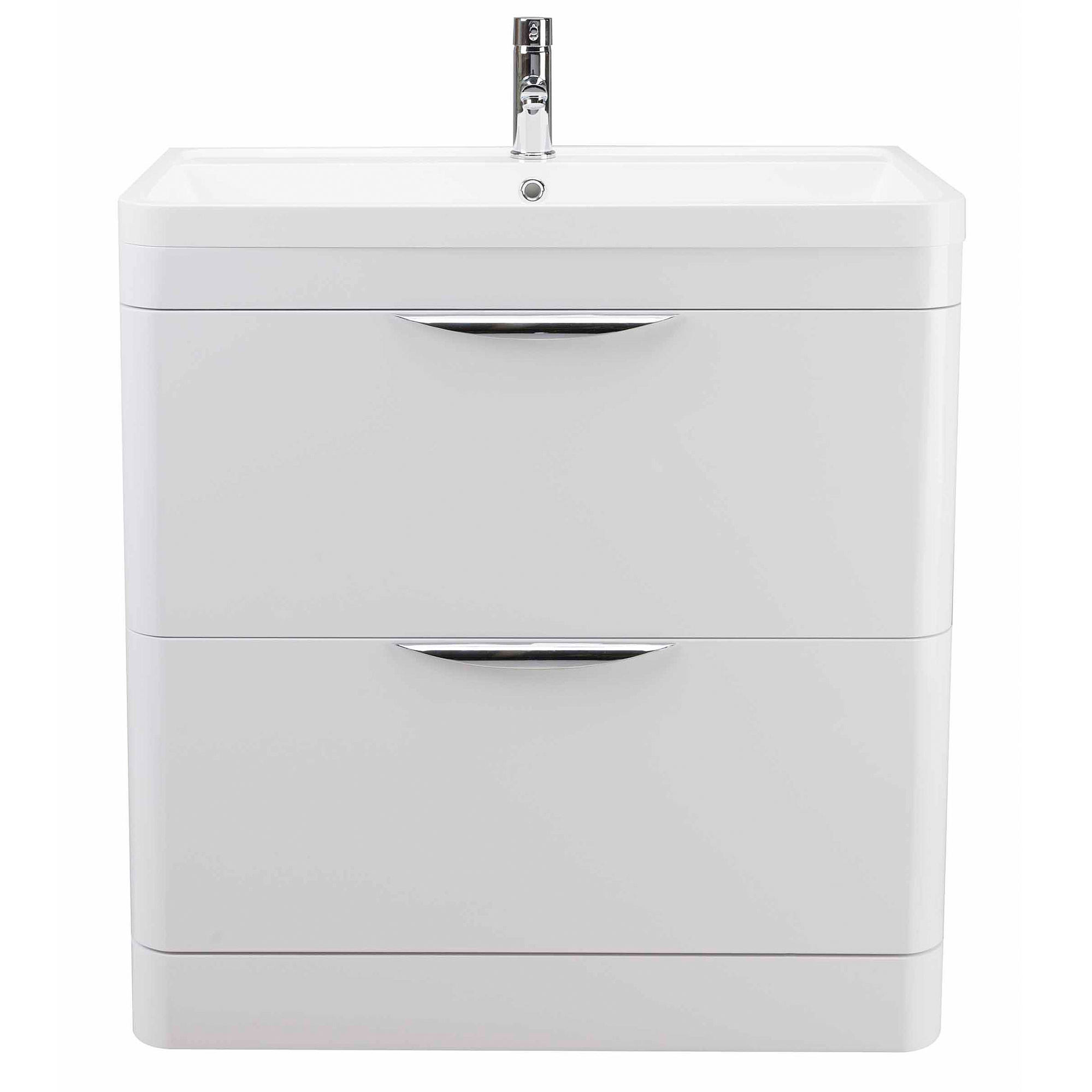 Lauren parade 800mm floor standing 2 drawer cabinet and basin for Bathroom cabinets 800mm high