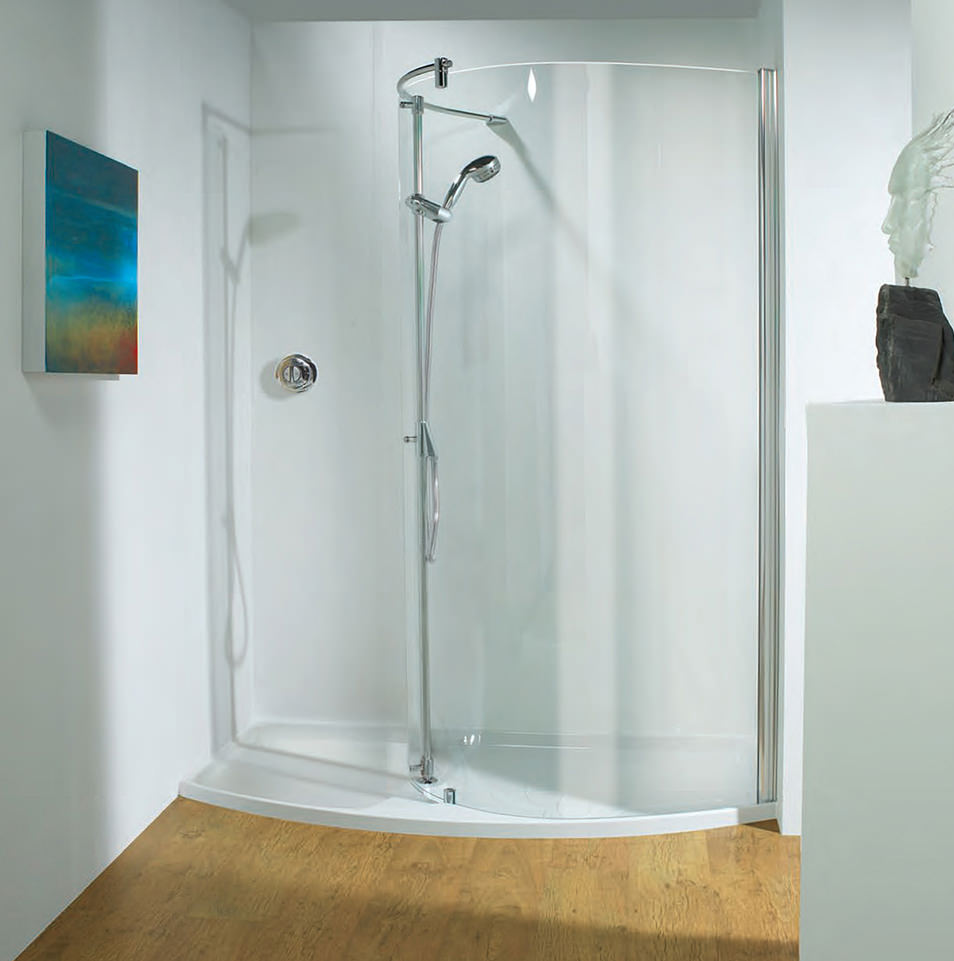 Ultimate 1400mm LH Curved Recess Walk-In Package With Shower Tower